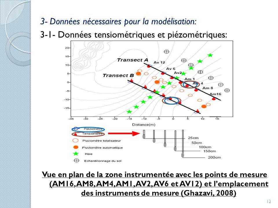 3- Données nécessaires pour la modélisation: 3-1- Données tensiométriques et piézométriques: Vue en plan de la zone instrumentée avec les points de me
