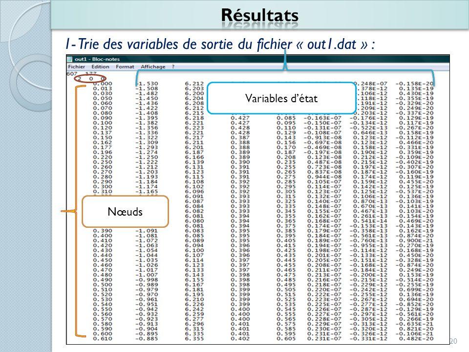 20 1- Trie des variables de sortie du fichier « out1.dat » : Nœuds Variables détat
