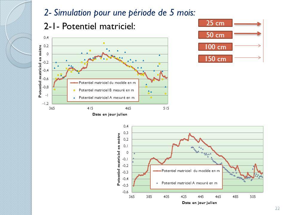2- Simulation pour une période de 5 mois: 2-1- Potentiel matriciel: 25 cm 150 cm 50 cm 100 cm 22