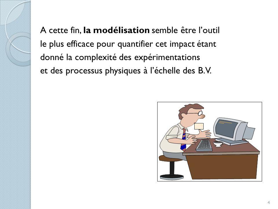 A cette fin, la modélisation semble être loutil le plus efficace pour quantifier cet impact étant donné la complexité des expérimentations et des proc