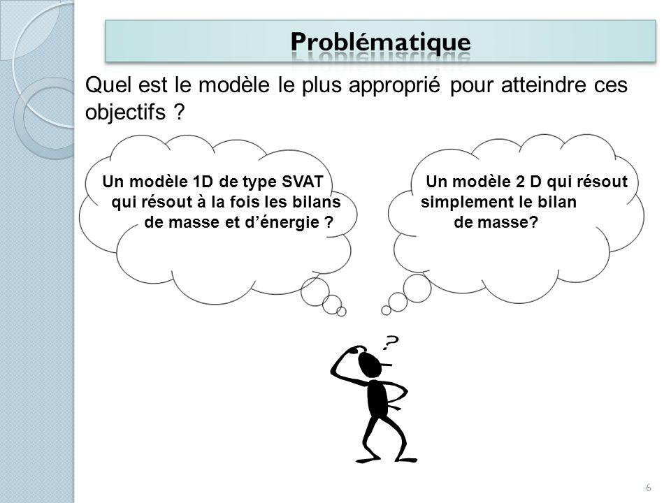 Un modèle 1D de type SVAT qui résout à la fois les bilans de masse et dénergie ? Un modèle 2 D qui résout simplement le bilan de masse? Quel est le mo