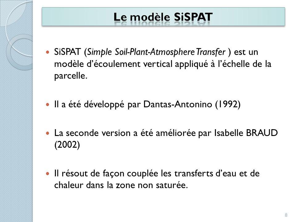 SiSPAT (Simple Soil-Plant-Atmosphere Transfer ) est un modèle découlement vertical appliqué à léchelle de la parcelle. Il a été développé par Dantas-A