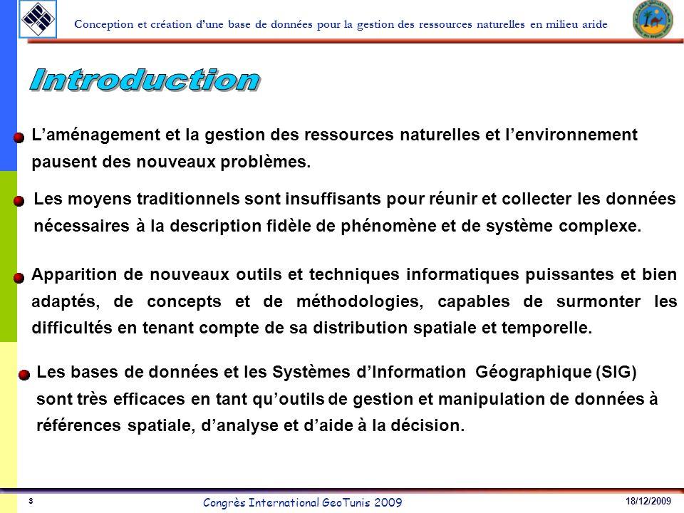18/12/2009 Congrès International GeoTunis 2009 Conception et création dune base de données pour la gestion des ressources naturelles en milieu aride 4 1.La redondance et la dispersion des enregistrements, 2.