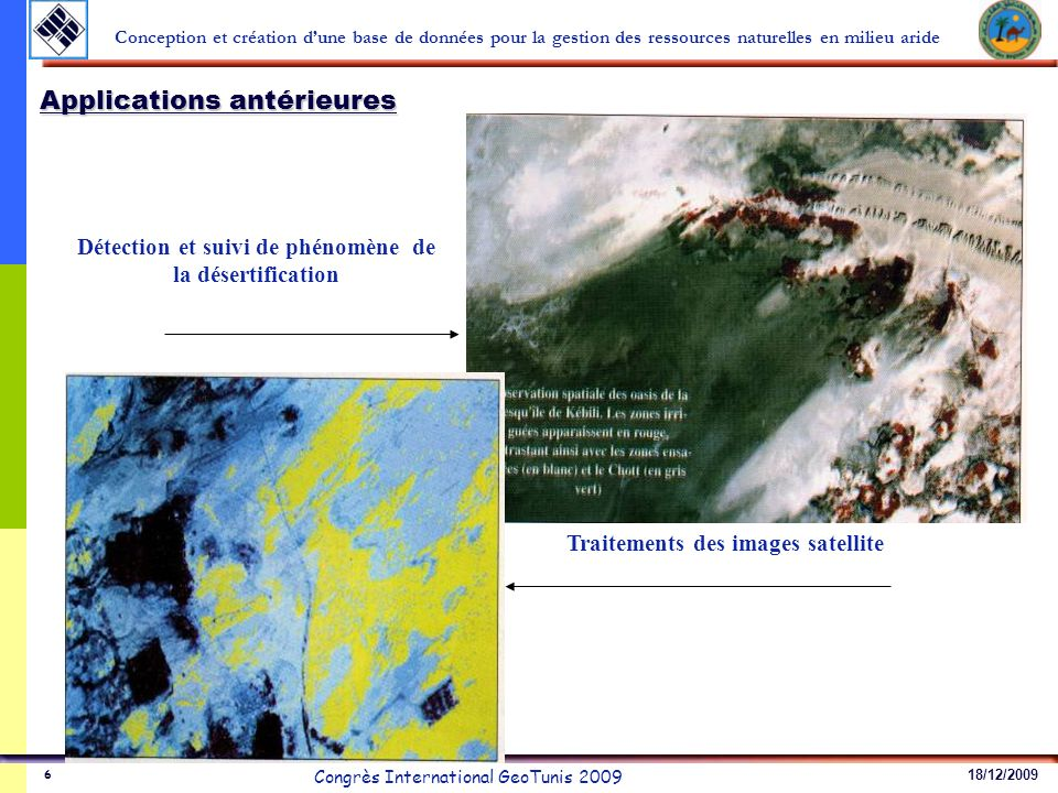 18/12/2009 Congrès International GeoTunis 2009 Conception et création dune base de données pour la gestion des ressources naturelles en milieu aride 6