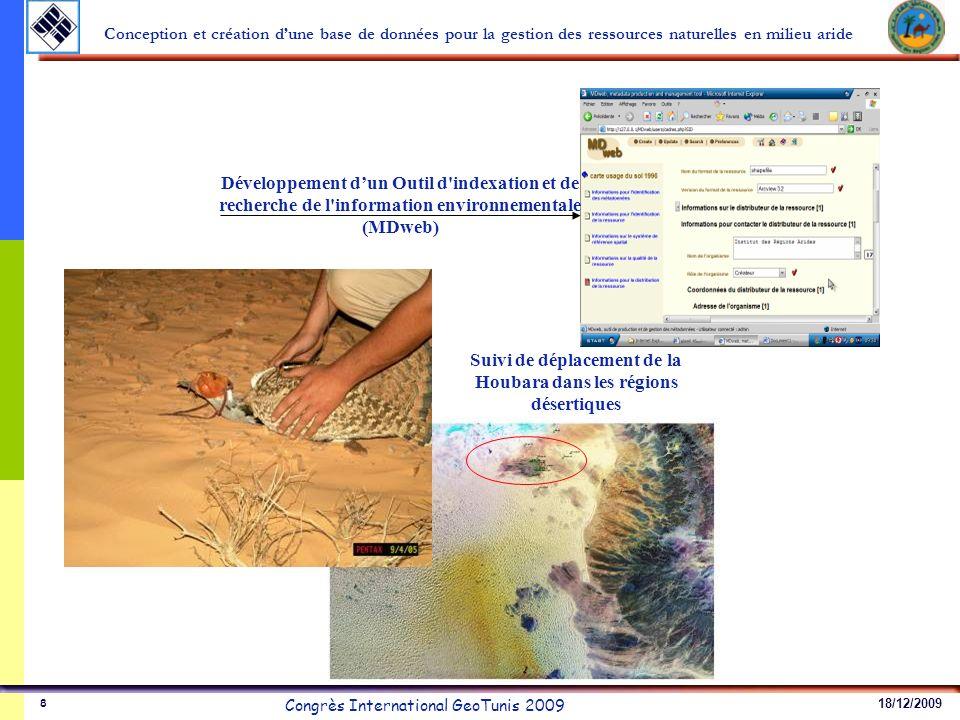 18/12/2009 Congrès International GeoTunis 2009 Conception et création dune base de données pour la gestion des ressources naturelles en milieu aride 8