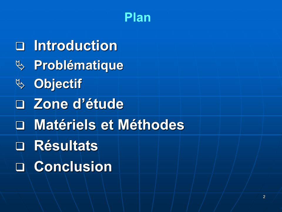 2 Introduction Introduction Problématique Problématique Objectif Objectif Zone détude Zone détude Matériels et Méthodes Matériels et Méthodes Résultats Résultats Conclusion Conclusion Plan