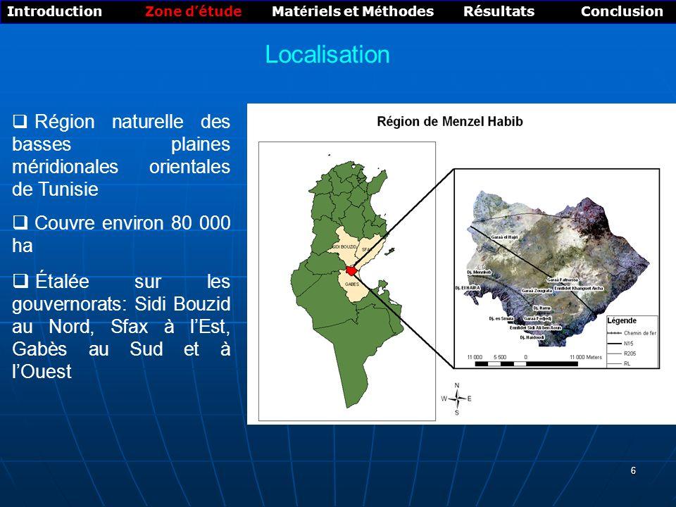 6 Région naturelle des basses plaines méridionales orientales de Tunisie Couvre environ 80 000 ha Étalée sur les gouvernorats: Sidi Bouzid au Nord, Sfax à lEst, Gabès au Sud et à lOuest Introduction Zone détude Mat é riels et M é thodes Résultats Conclusion Localisation
