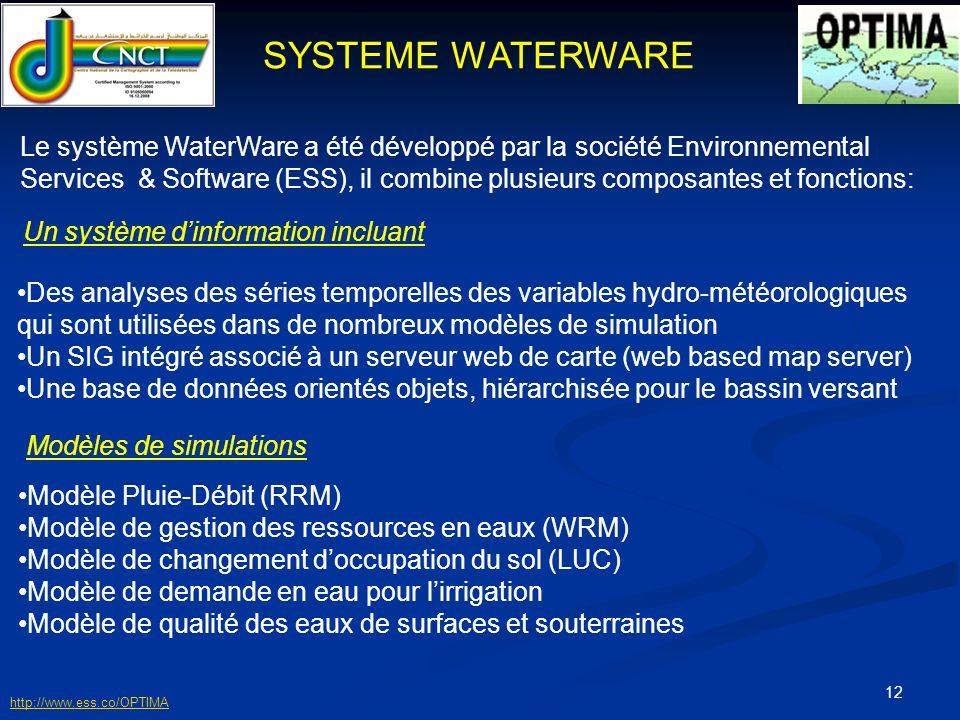 13 Modèle Pluie / Débit Rainfall Runoff Model C est un modèle dynamique qui estime lapport en eau à lexutoire du BV tout en tenant compte des paramètres physico-chimiques,loccupation du sol, pluviométrie, température, caractéristiques de laquifère… INPUT OUTPUT Paramètres du BV Paramètres du modèle Paramètres constants du modèle Estimation du débit sortant du BV http://www.ess.co/OPTIMA
