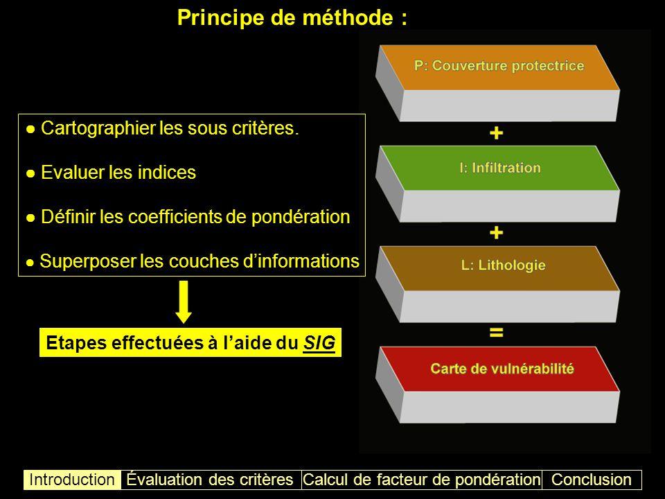 Influence de la lithologie sur la vulnérabilité à linfiltration ConclusionIntroductionÉvaluation des critères Carte « L » Calcul de facteur de pondération