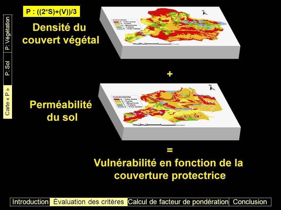 ConclusionIntroductionÉvaluation des critères Carte de vulnérabilité en fonction de la couverture protectrice P: Végétation P: Sol Carte « P » Calcul de facteur de pondération