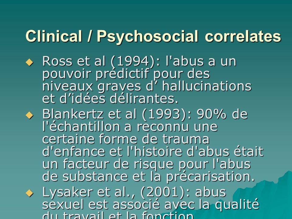 Clinical / Psychosocial correlates Clinical / Psychosocial correlates Ross et al (1994): l abus a un pouvoir prédictif pour des niveaux graves d hallucinations et didées délirantes.