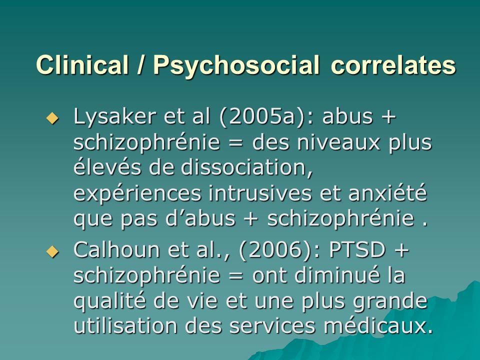 Clinical / Psychosocial correlates Lysaker et al (2005a): abus + schizophrénie = des niveaux plus élevés de dissociation, expériences intrusives et anxiété que pas dabus + schizophrénie.