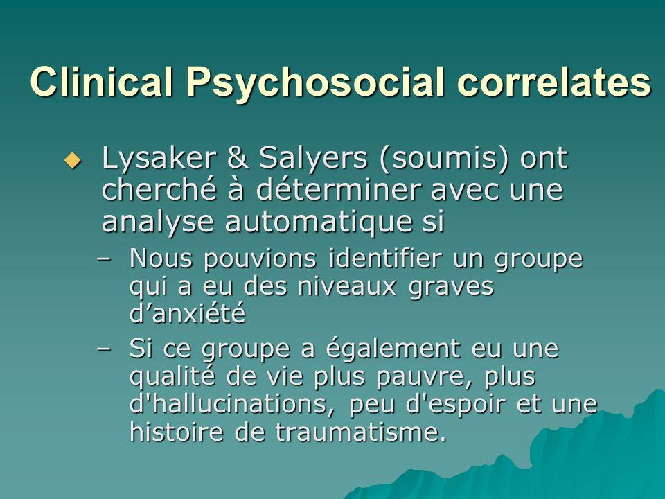 Clinical Psychosocial correlates Lysaker & Salyers (soumis) ont cherché à déterminer avec une analyse automatique si Lysaker & Salyers (soumis) ont cherché à déterminer avec une analyse automatique si –Nous pouvions identifier un groupe qui a eu des niveaux graves danxiété –Si ce groupe a également eu une qualité de vie plus pauvre, plus d hallucinations, peu d espoir et une histoire de traumatisme.