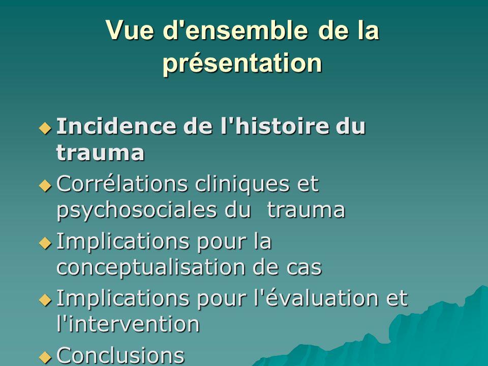 Vue d'ensemble de la présentation Incidence de l'histoire du trauma Incidence de l'histoire du trauma Corrélations cliniques et psychosociales du trau