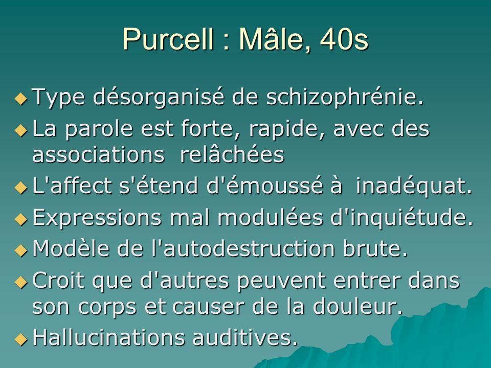 Purcell : Mâle, 40s Type désorganisé de schizophrénie. Type désorganisé de schizophrénie. La parole est forte, rapide, avec des associations relâchées