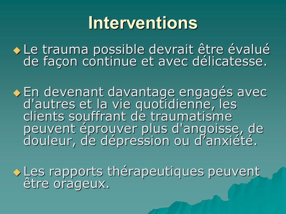 Interventions Le trauma possible devrait être évalué de façon continue et avec délicatesse. Le trauma possible devrait être évalué de façon continue e