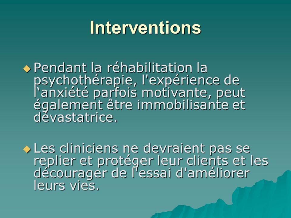Interventions Pendant la réhabilitation la psychothérapie, l'expérience de lanxiété parfois motivante, peut également être immobilisante et dévastatri