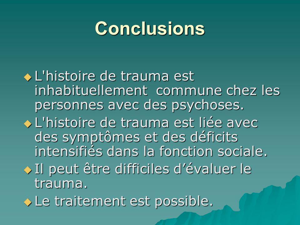 Conclusions L'histoire de trauma est inhabituellement commune chez les personnes avec des psychoses. L'histoire de trauma est inhabituellement commune