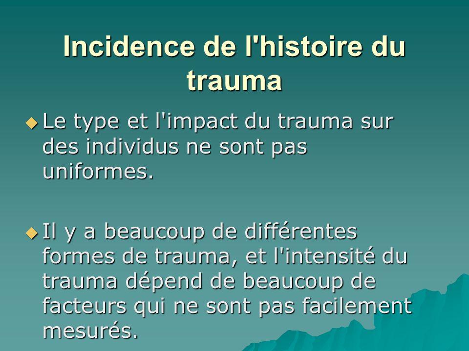 Incidence de l'histoire du trauma Le type et l'impact du trauma sur des individus ne sont pas uniformes. Le type et l'impact du trauma sur des individ