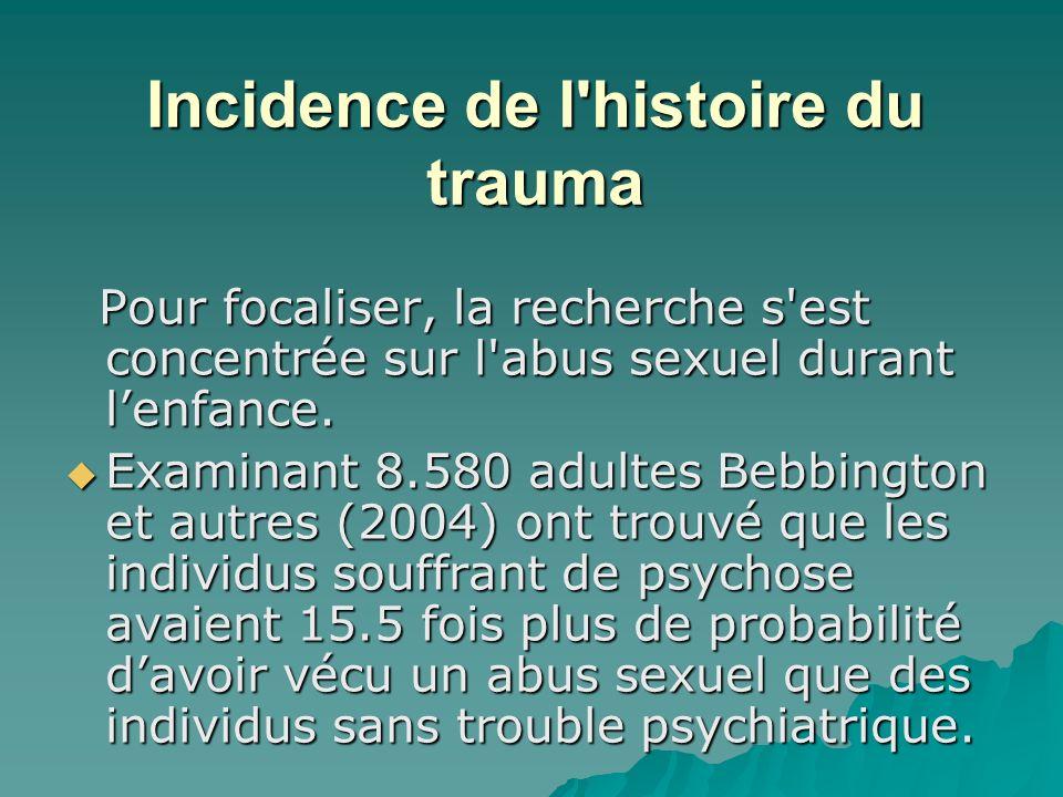Incidence de l'histoire du trauma Pour focaliser, la recherche s'est concentrée sur l'abus sexuel durant lenfance. Pour focaliser, la recherche s'est