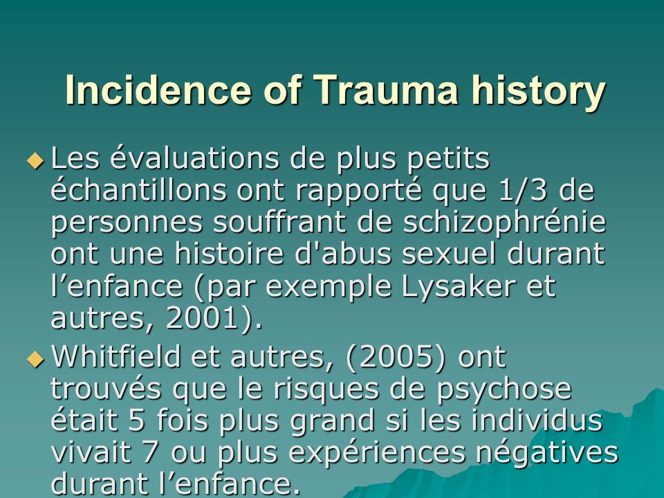 Incidence of Trauma history Les évaluations de plus petits échantillons ont rapporté que 1/3 de personnes souffrant de schizophrénie ont une histoire d abus sexuel durant lenfance (par exemple Lysaker et autres, 2001).