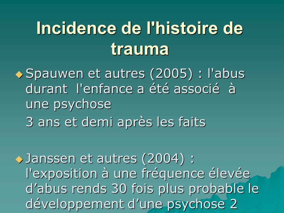 Incidence de l histoire de trauma Spauwen et autres (2005) : l abus durant l enfance a été associé à une psychose Spauwen et autres (2005) : l abus durant l enfance a été associé à une psychose 3 ans et demi après les faits Janssen et autres (2004) : l exposition à une fréquence élevée dabus rends 30 fois plus probable le développement dune psychose 2 ans après.