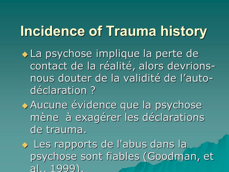 Incidence of Trauma history La psychose implique la perte de contact de la réalité, alors devrions- nous douter de la validité de lauto- déclaration .