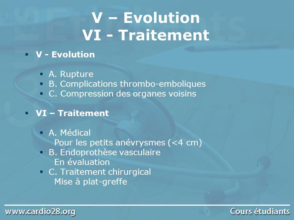 V – Evolution VI - Traitement V - Evolution A. Rupture B. Complications thrombo-emboliques C. Compression des organes voisins VI – Traitement A. Médic