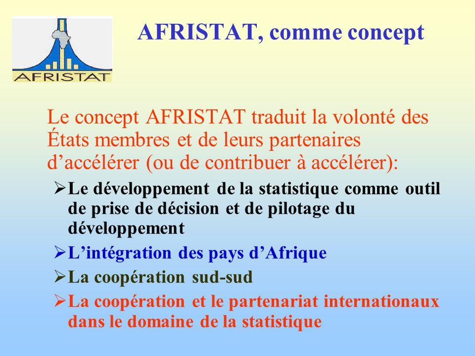 AFRISTAT, comme concept Le concept AFRISTAT traduit la volonté des États membres et de leurs partenaires daccélérer (ou de contribuer à accélérer): Le développement de la statistique comme outil de prise de décision et de pilotage du développement Lintégration des pays dAfrique La coopération sud-sud La coopération et le partenariat internationaux dans le domaine de la statistique
