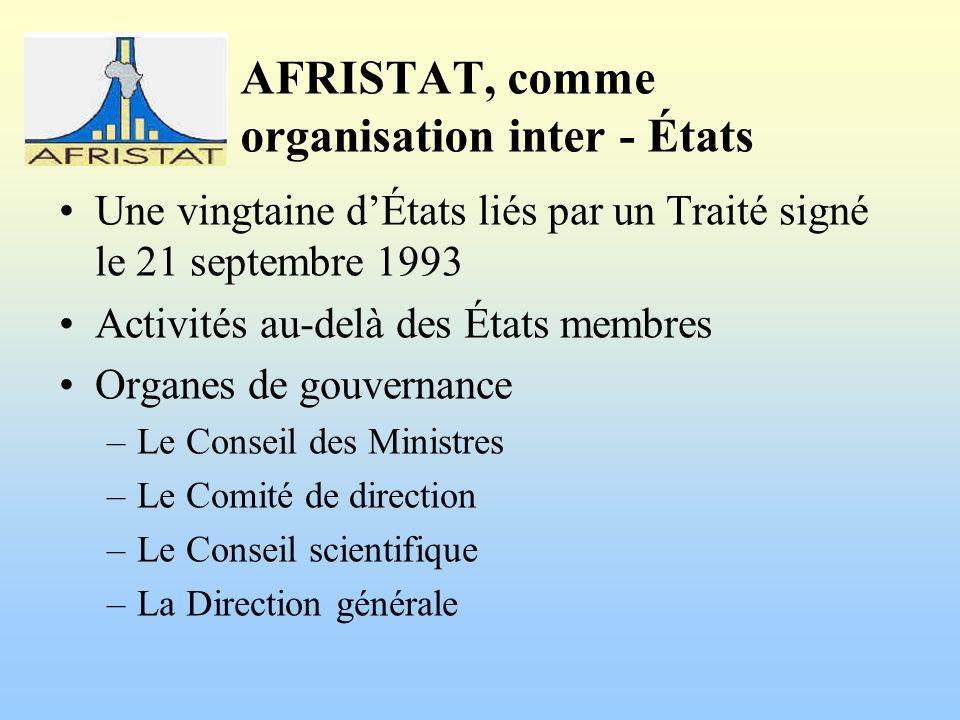 AFRISTAT, comme organisation inter - États Une vingtaine dÉtats liés par un Traité signé le 21 septembre 1993 Activités au-delà des États membres Organes de gouvernance –Le Conseil des Ministres –Le Comité de direction –Le Conseil scientifique –La Direction générale