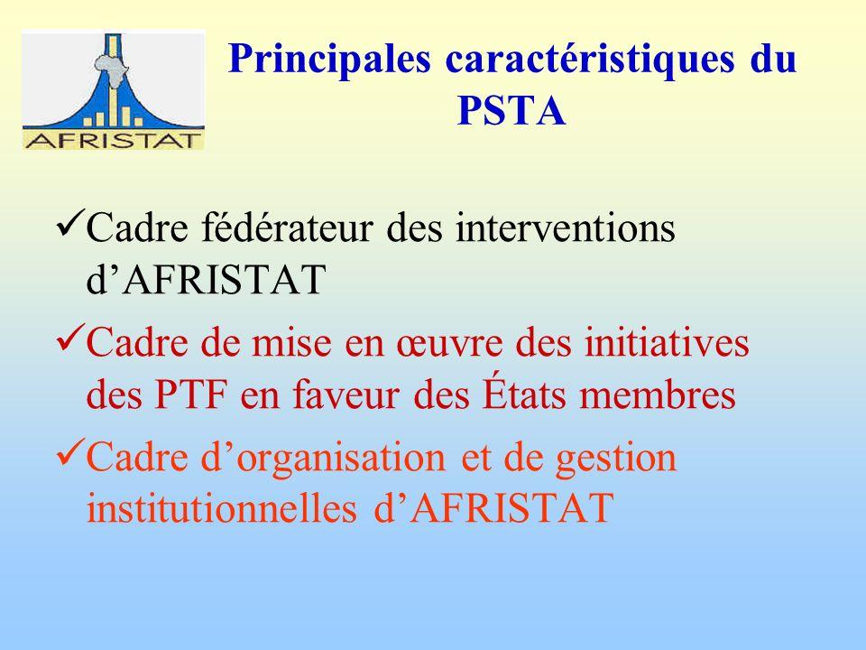 Principales caractéristiques du PSTA Cadre fédérateur des interventions dAFRISTAT Cadre de mise en œuvre des initiatives des PTF en faveur des États membres Cadre dorganisation et de gestion institutionnelles dAFRISTAT