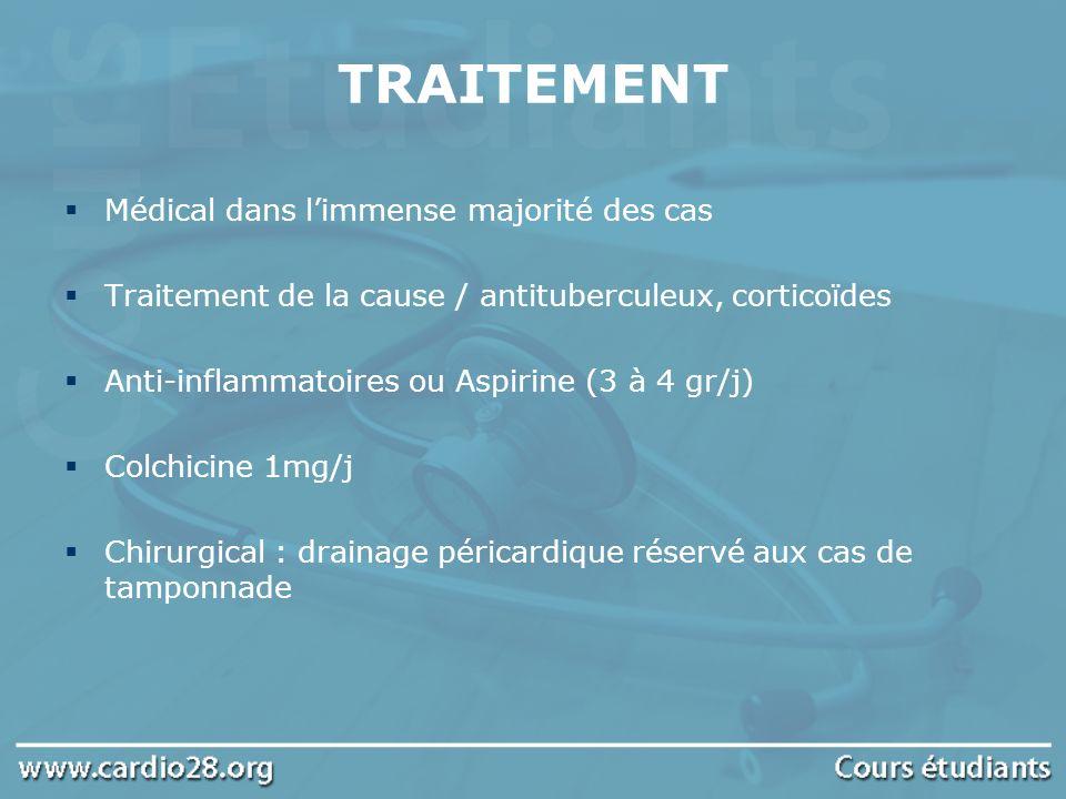 TRAITEMENT Médical dans limmense majorité des cas Traitement de la cause / antituberculeux, corticoïdes Anti-inflammatoires ou Aspirine (3 à 4 gr/j) C