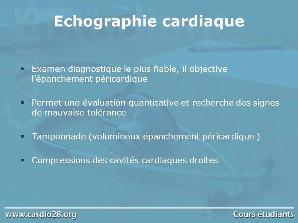 Echographie cardiaque Examen diagnostique le plus fiable, il objective lépanchement péricardique Permet une évaluation quantitative et recherche des s