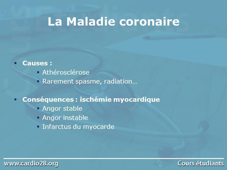 La Maladie coronaire Causes : Athérosclérose Rarement spasme, radiation… Conséquences : ischémie myocardique Angor stable Angor instable Infarctus du