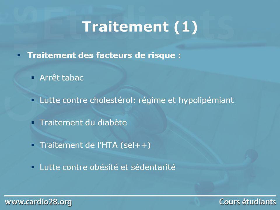 Traitement (1) Traitement des facteurs de risque : Arrêt tabac Lutte contre cholestérol: régime et hypolipémiant Traitement du diabète Traitement de l
