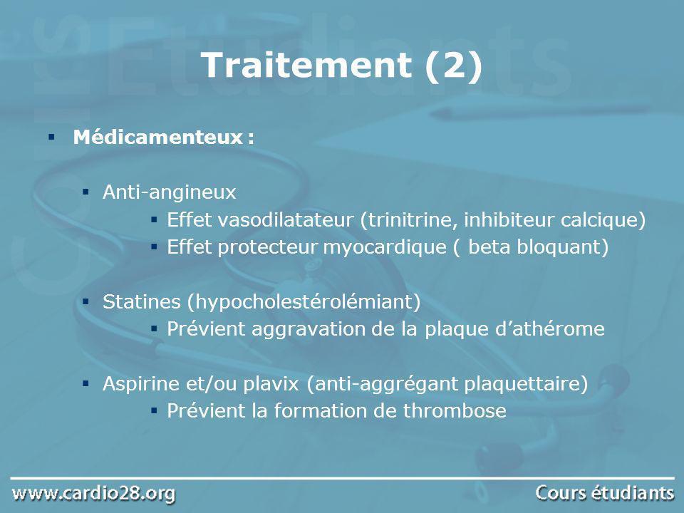 Traitement (2) Médicamenteux : Anti-angineux Effet vasodilatateur (trinitrine, inhibiteur calcique) Effet protecteur myocardique ( beta bloquant) Stat
