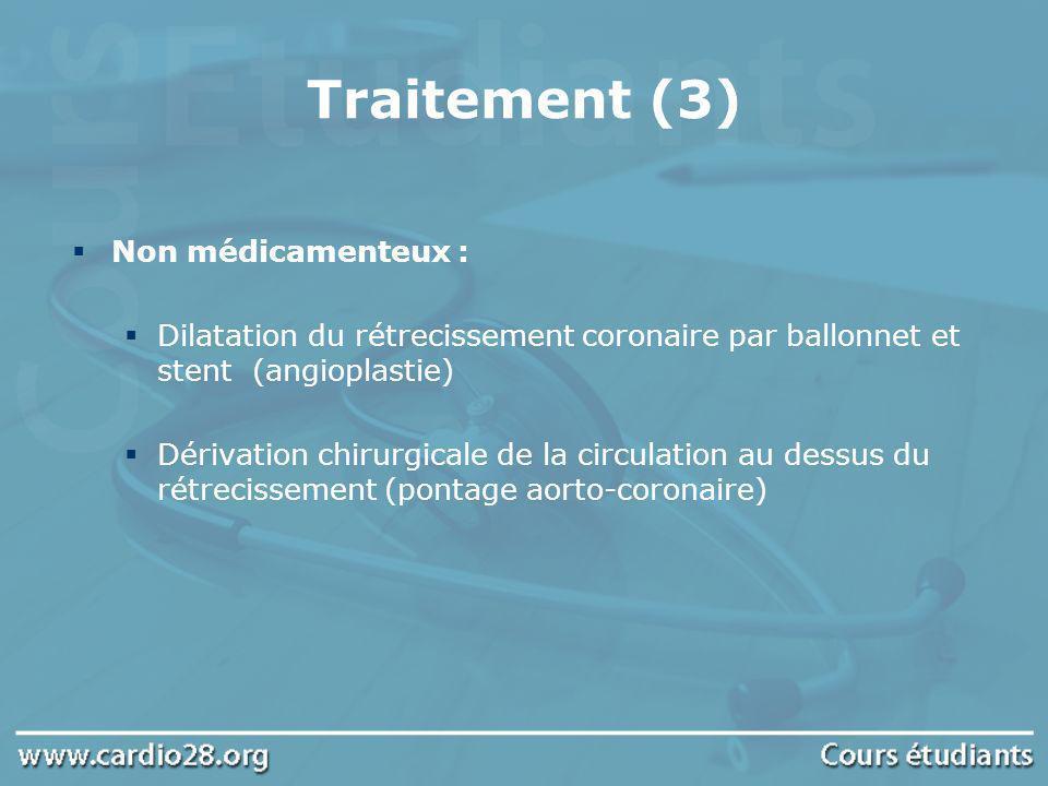 Traitement (3) Non médicamenteux : Dilatation du rétrecissement coronaire par ballonnet et stent (angioplastie) Dérivation chirurgicale de la circulat