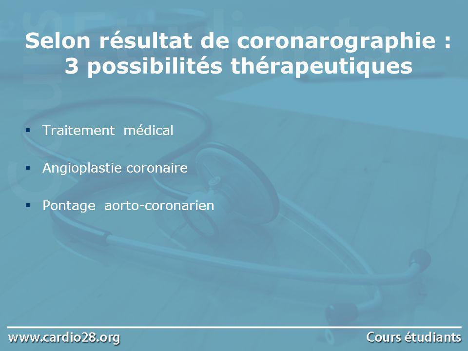 Selon résultat de coronarographie : 3 possibilités thérapeutiques Traitement médical Angioplastie coronaire Pontage aorto-coronarien