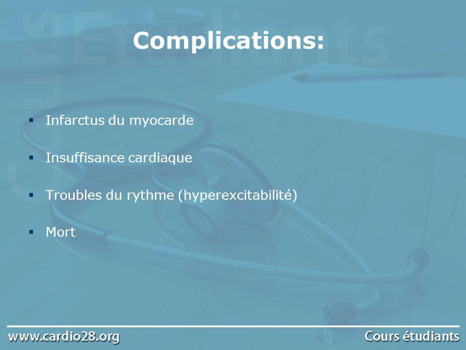 Complications: Infarctus du myocarde Insuffisance cardiaque Troubles du rythme (hyperexcitabilité) Mort