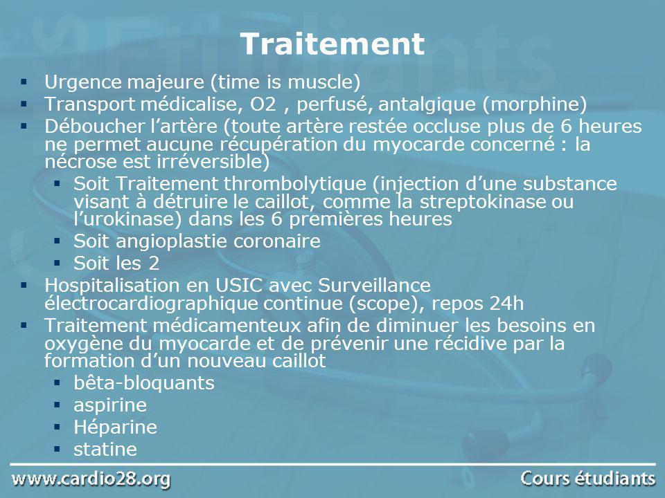 Traitement Urgence majeure (time is muscle) Transport médicalise, O2, perfusé, antalgique (morphine) Déboucher lartère (toute artère restée occluse pl