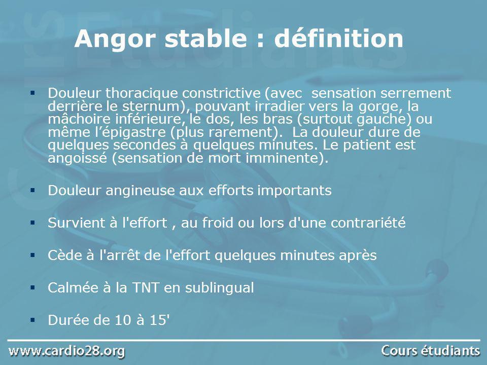 Angor stable : définition Douleur thoracique constrictive (avec sensation serrement derrière le sternum), pouvant irradier vers la gorge, la mâchoire