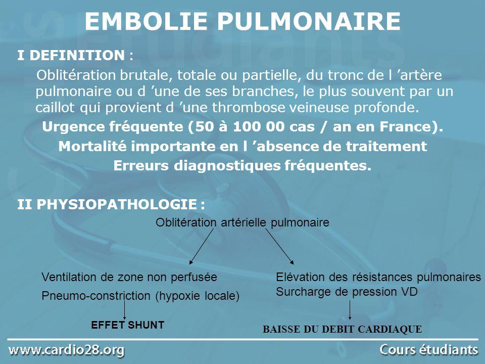 EMBOLIE PULMONAIRE I DEFINITION : Oblitération brutale, totale ou partielle, du tronc de l artère pulmonaire ou d une de ses branches, le plus souvent