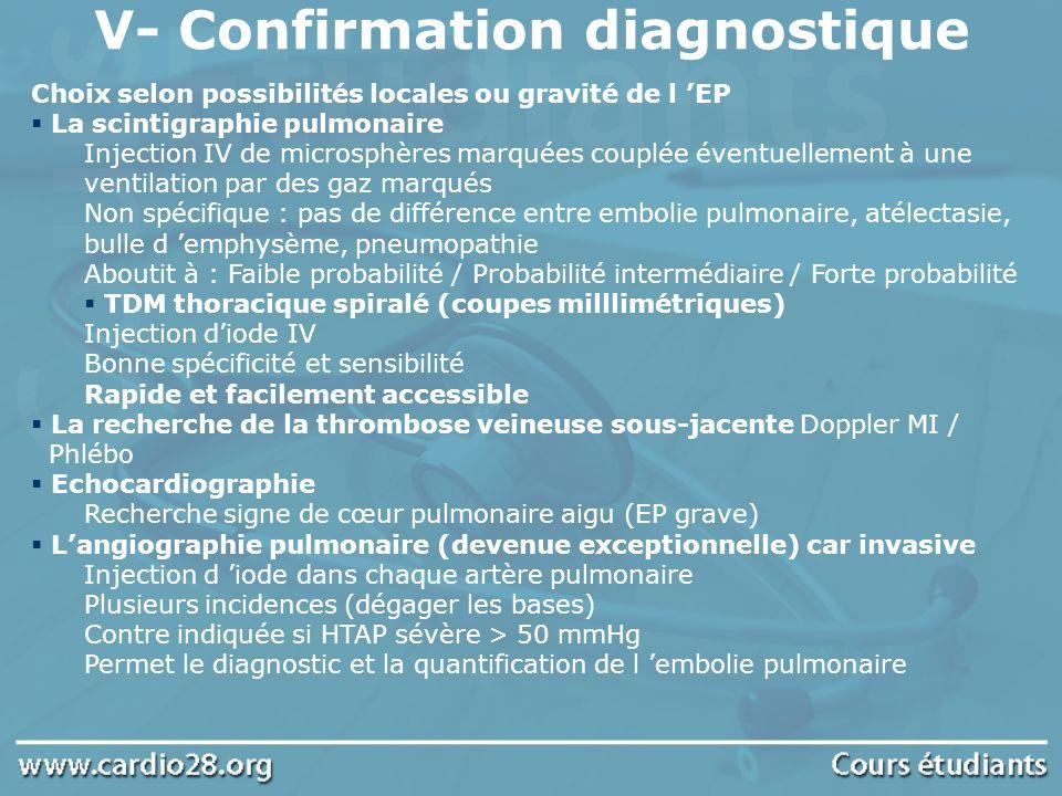 V- Confirmation diagnostique Choix selon possibilités locales ou gravité de l EP La scintigraphie pulmonaire Injection IV de microsphères marquées cou