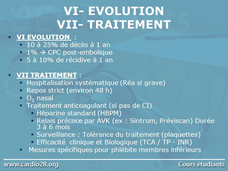 VI EVOLUTION : 10 à 25% de décès à 1 an 1% CPC post-embolique 5 à 10% de récidive à 1 an VII TRAITEMENT : Hospitalisation systématique (Réa si grave)
