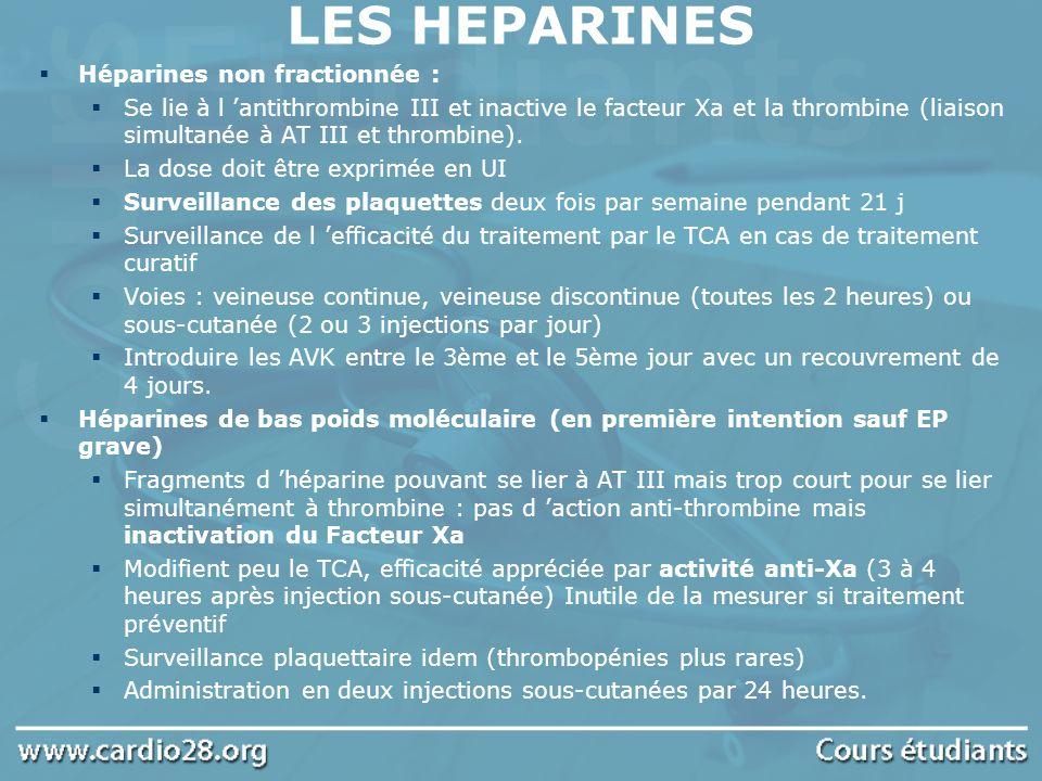 Héparines non fractionnée : Se lie à l antithrombine III et inactive le facteur Xa et la thrombine (liaison simultanée à AT III et thrombine). La dose