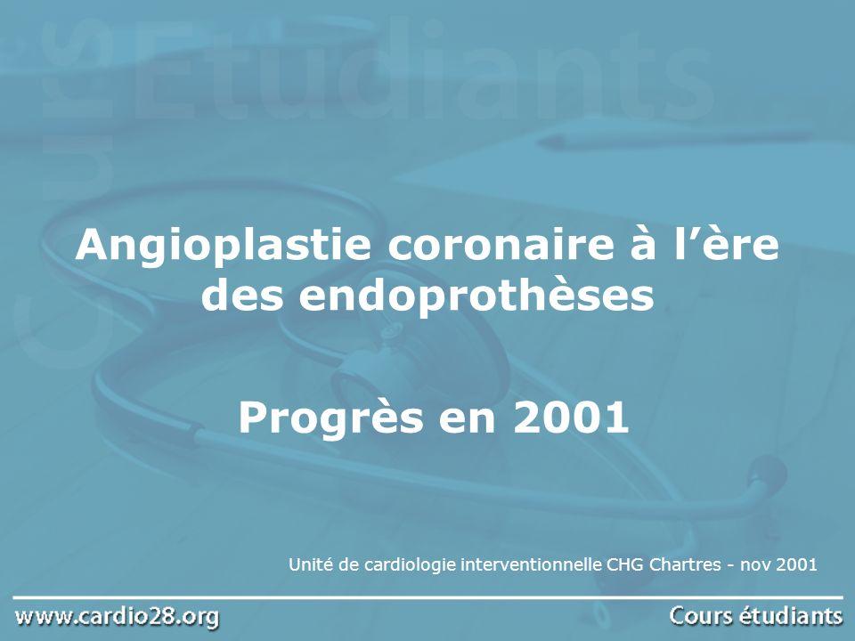 Angioplastie coronaire à lère des endoprothèses Unité de cardiologie interventionnelle CHG Chartres - nov 2001 Progrès en 2001