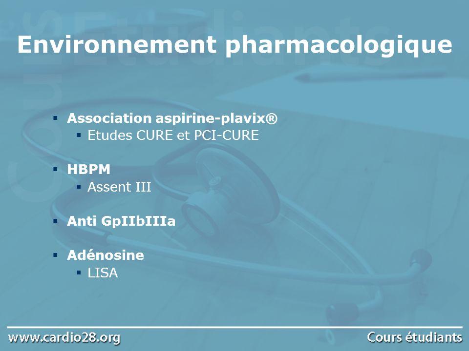 Association aspirine-plavix® Etudes CURE et PCI-CURE HBPM Assent III Anti GpIIbIIIa Adénosine LISA Environnement pharmacologique