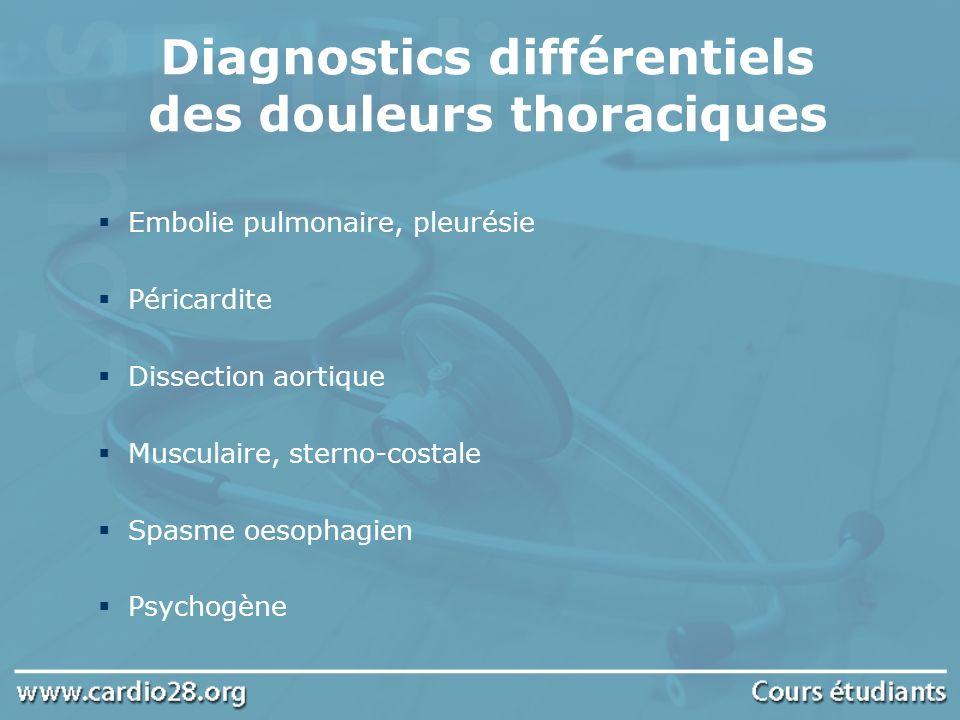 Diagnostics différentiels des douleurs thoraciques Embolie pulmonaire, pleurésie Péricardite Dissection aortique Musculaire, sterno-costale Spasme oes
