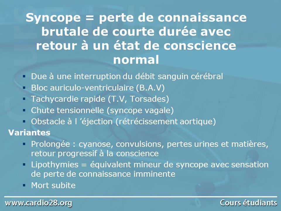 Syncope = perte de connaissance brutale de courte durée avec retour à un état de conscience normal Due à une interruption du débit sanguin cérébral Bl