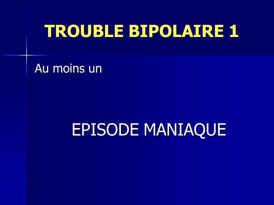 TROUBLE BIPOLAIRE 1 TROUBLE BIPOLAIRE 1 Au moins un EPISODE MANIAQUE EPISODE MANIAQUE